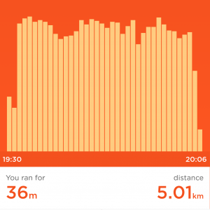 Jawbone UP screenshot of Sony's first successful 5km run in 2017