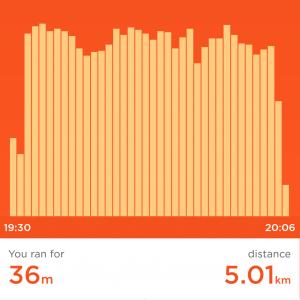 Jawbone UP screenshot of Sony's first successful 5km run in 2017