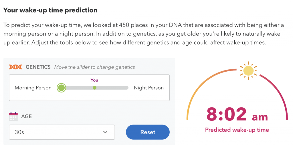 My Wake-up time prediction from 23 And Me (a personal genomics company)